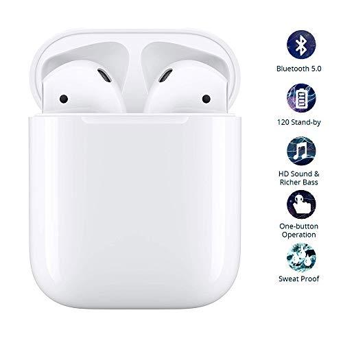 Auriculares Bluetooth, Auriculares 3D estéreo HD,Llamadas binaurales, IPX6 a prueba de agua,con Estuche de Carga portátil para Samsung/iPhone/AirPods