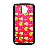 wugdiy Custom Hard Plastic Back Case Cover for SamSung Galaxy S5 I9600 with Unique Design Funny Emoji Face