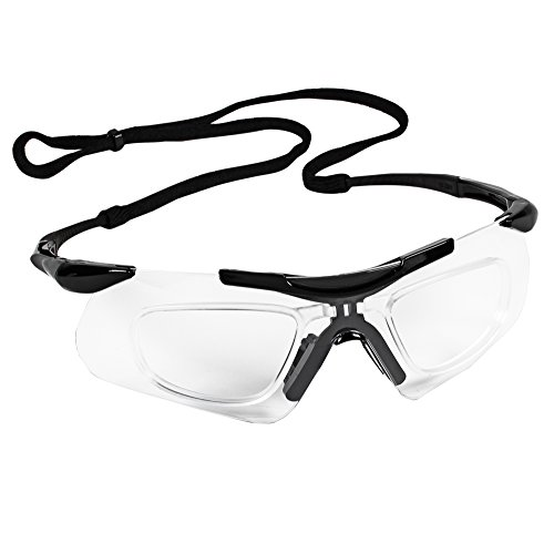 KLEENGUARD V60 Nemesis Safety Glasses with Rx Inserts (38503), Clear Anti-Fog Lenses with Black Frame, 12 Pairs / Case