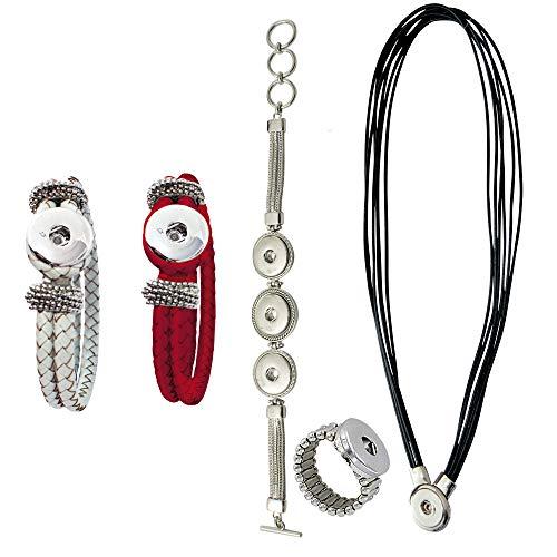 Sunsa Damen Mädchen, Click-Buttons Druckknöpfe Chunks Set für: Kette, 3X Armband,Ring. klick Button Schmuck Sets sind tolle Schwester/Oma/Mama Geschenk Frauen