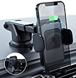 ZeeHoo Wireless Car Charger,10W Qi Fast Charging Auto-Clamping Car Mount,Windshield Dash Air Vent Phone Holder (Grey)