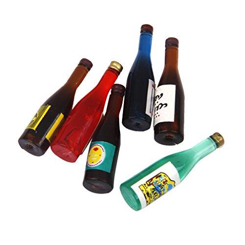 oshhni 6 Piezas 1/12 Casa de Muñecas Botellas de Vino en Miniatura Set Bar Pub Home Toys