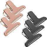 Fltaheroo 6 Confezioni Clip in Acciaio Inossidabile per Sacchetti di Trucioli Resistenti, Clip per Sacchetti di Snack con Bordo Liscio Rotondo/Cartella/Clip di Tenuta, Oro Rosa + Nero