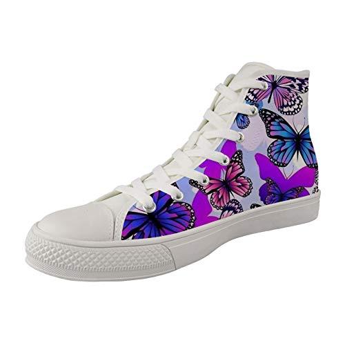 MODEGA Schmetterlingsdruck Segeltuchschuh Männer Schmetterling weißen Segeltuchschuhe Frauen-Druck-Schuhe Damenmode Sneaker S