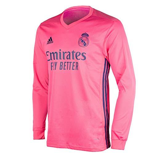 Adidas Real Madrid Temporada 2020/21 Camiseta Manga Larga Segunda Equipación Oficial, Unisex, Rosa, M