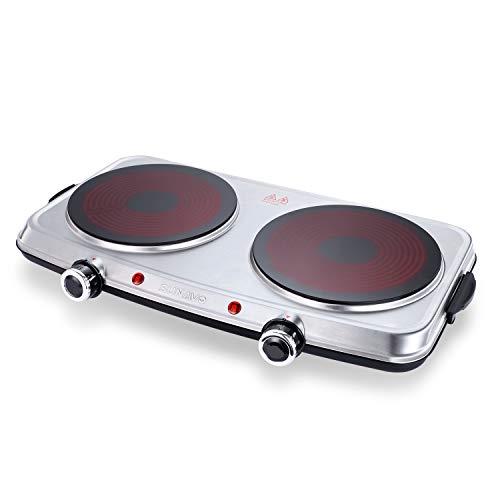 SUNAVO Plaque Électrique en Vitrocéramique Portable Plaques de Cuisson Double Cuisinière 2400W