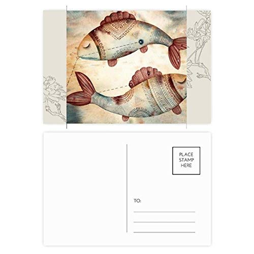DIYthinker maart Vissen sterrenbeeld Zodiac Bloem Postkaart Set Thanks Card Mailing Zijkant 20 stks 5.7 inch x 3.8 inch Multi kleuren