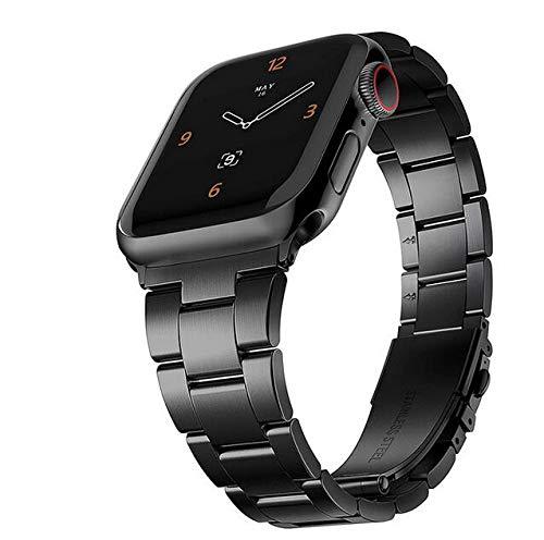 Aiktet Correa estrecha de acero inoxidable para Apple Watch 38 40 mm, todos los modelos de correa de metal para quitar eslabón rápido, compatible con Apple iWatch Series 3, 2, 1, 38/40 mm, color negro
