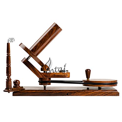 INTAJ Rosewood Yarn Winder - Large Wooden Yarn Winder for Knitting Crocheting Handcrafted - Heavy Duty Natural Ball Winder (Rosewood, Universal (14'Lx9.5'H))