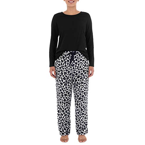 Fruit of the Loom Women's Sueded Jersey Crew Top and Fleece Pant Sleep Set, Black/Cheetah, Large
