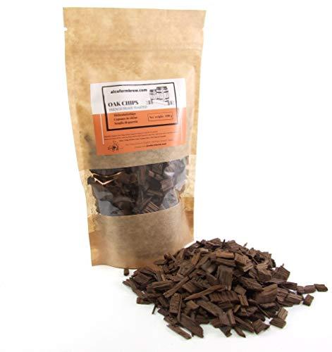 Eichenholzchips Französisch (Heavy Toasted) 100g - Französische Eichenholzchips   Eichenholzspäne   Räucherholz   Eichenholz Chips   Holzspäne   Holzfässer