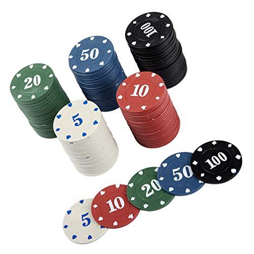 NUOBESTY 100 Piezas de Fichas de Póker de Plástico Redondas Coloridas Monedas de Juego Fichas de Bingo Discos de Conteo para La Práctica de Matemáticas Fichas de Póker Fichas de Juego de