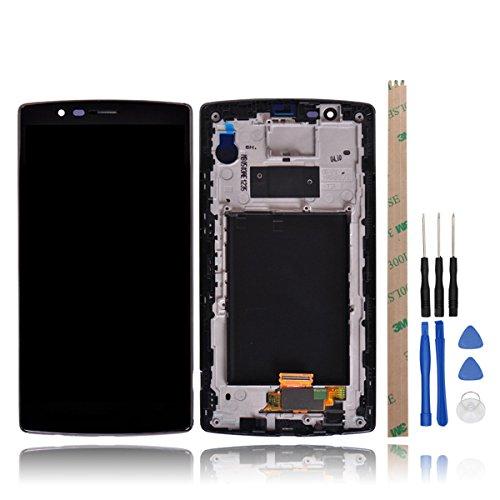 HYYT LCD Display + Touchscreen Digitizer für LG G4 H815 mit Frei Werkzeuge, H812 H811 H810 VS986 US991 LS991(Schwarz+Rahmen)