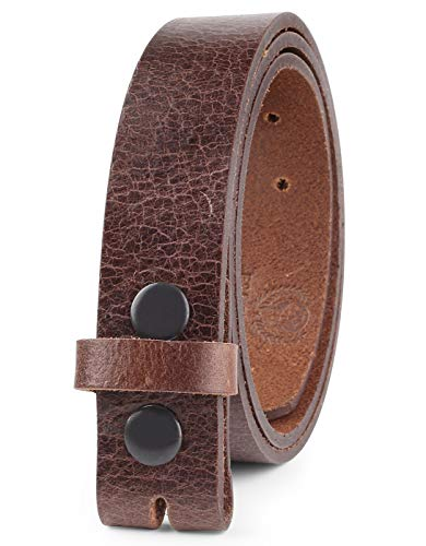"Mens Leather belt Full Grain One Piece Vintage Distressed Style Snap on Strap for Interchangeable Buckles, 1 .25"" Wide, OSAKA BROWN,size 48,1043"