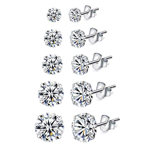 HAISWET 5 Pcs Silver Stud Earrings Set 925 Sterling Silver Clear 3,4,5,6,7MM Cubic Zirconia Sleeper Cartilage Stud