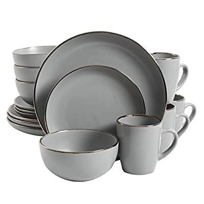 Gibson Home Rockaway Coupe Stoneware Dinnerware Set, Service for 4 (16pcs), Grey/Gold Rim