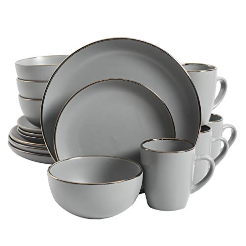 Gibson Rockaway Dinnerware Set, 16 Piece, Grey with Gold Rim