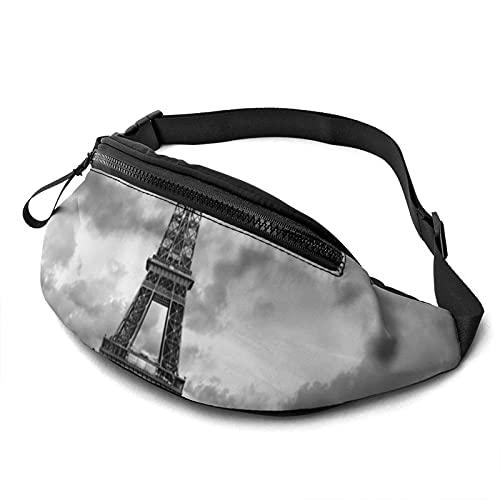 DJNGN Casual para Hombres, Mujeres, Coche Rojo Frente a la Torre Eiffel, riñonera Estampada con Conector para Auriculares.