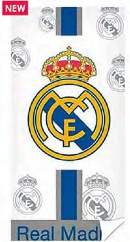 Real Madrid Toalla Blanca Escudos Playa Microfibra 70x140 cm 250g
