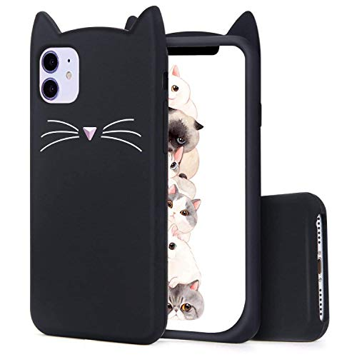 Jowhep Case for iPhone 11 Cartoon Cute Kawaii 3D Fun Black Cat Animal Design Soft Silicone Cover, Unique Cool Funny Character Stylish Fashion Cases for iPhone 11 6.1' Shell for Girls Kids Boys Women