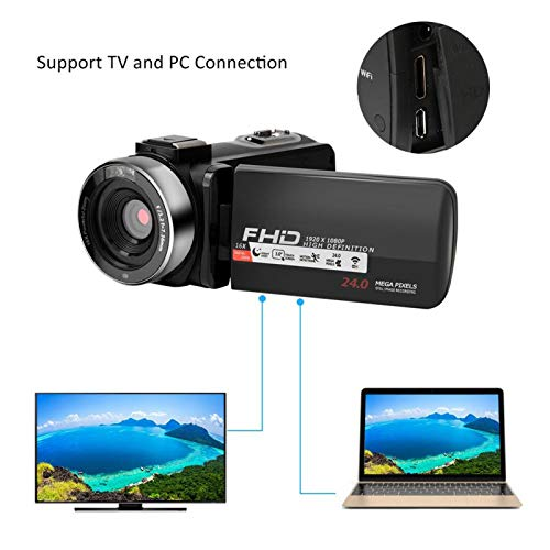 Gaeirt Cámara de Video con batería incorporada Pantalla táctil con Zoom Digital 16, LED Doble(Standard +0.39X Wide-Angle Lens)