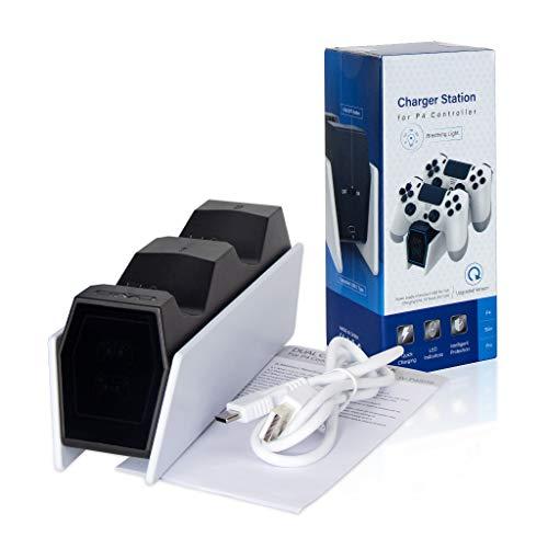 Leiouser PS4 Controlador Cargador LED Indicador Estación de carga USB Cable de carga compatible con PS4 Slim/Pro Gaming Controladores Kit de Manijas
