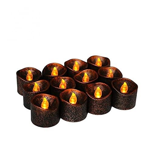ZHAHAPPY 2 unids Luces de té-PP Plástico Amarillo Flicker Batería eléctrica LED Velas sin Llama para Navidad Decoración de la Boda de Halloween
