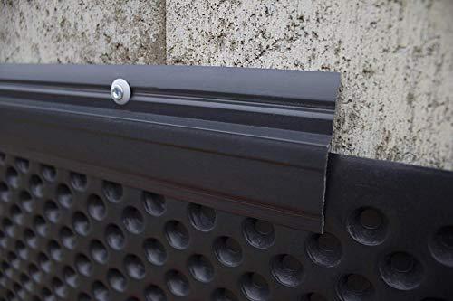 10 Meter | Abdeckprofil für Noppenfolie | PVC | stoßfest | resistent | Lemal | 65x10 mm | schwarz | PT6