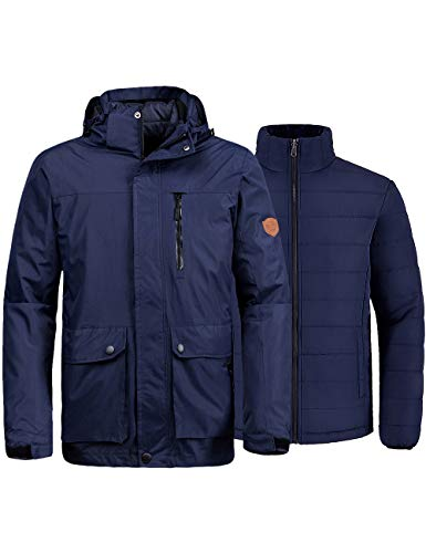 Wantdo Men's Windproof Ski Jacket Insulated Coat for Mountaineering Dark Blue S