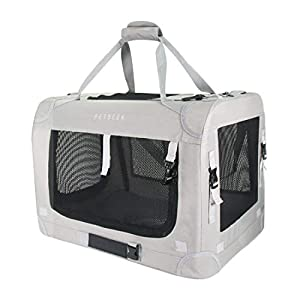 Petseek Extra Large Cat Carrier Soft Sided Folding Small Medium Dog Pet Carrier 24″x16.5″x16″ Travel Collapsible Ventilated Comfortable Design Portable Vehicle