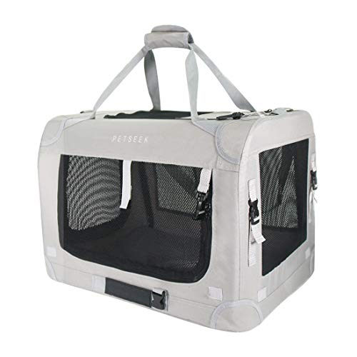 "Petseek Extra Large Cat Carrier Soft Sided Folding Small Medium Dog Pet Carrier 24""x16.5""x16"" Travel Collapsible Ventilated Comfortable Design Portable Vehicle"