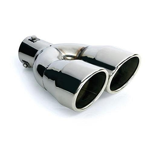 Preisvergleich Produktbild CARTUNER® Auspuff Blende Endrohr 2 x 90 mm rund Edelstahl in Sportauspuff Optik Absorber Doppelendrohr 36-54mm