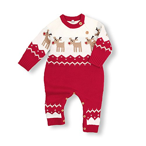 mimixiong Baby Christmas Sweater Toddler Reindeer Outfit Red Clothes (12-18Months,Red-Jumpsuit)