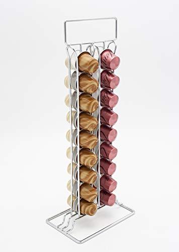 Soporte para cápsulas de café Nespresso (36 cápsulas). Dispensador cápsulas de café acero inoxidable cromado.