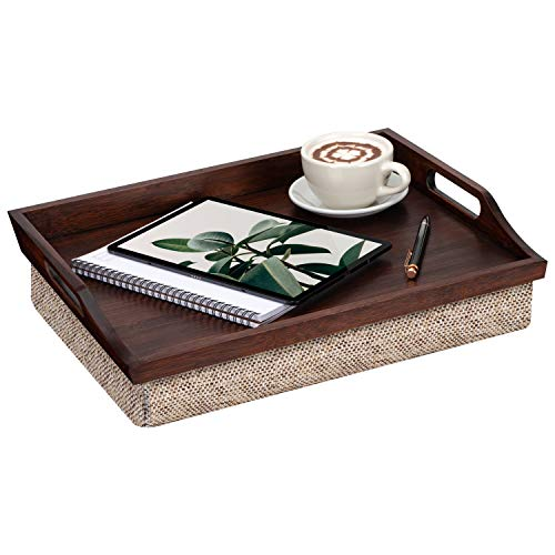 Rossie Home Lap Tray with Detachable Pillow, Serving Tray - Espresso Bamboo - Style No. 76102