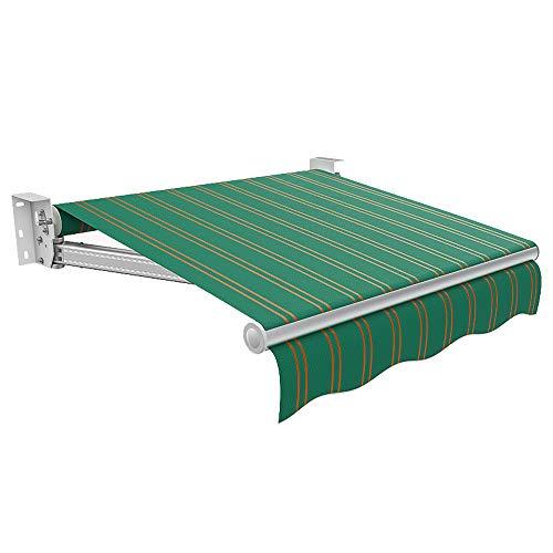 SUN RDPP DIY Patio Retractable Manuelle Markise Garten Sonnenschirm Vordach Armaturen und Handkurbel, Grün,3x2.5m