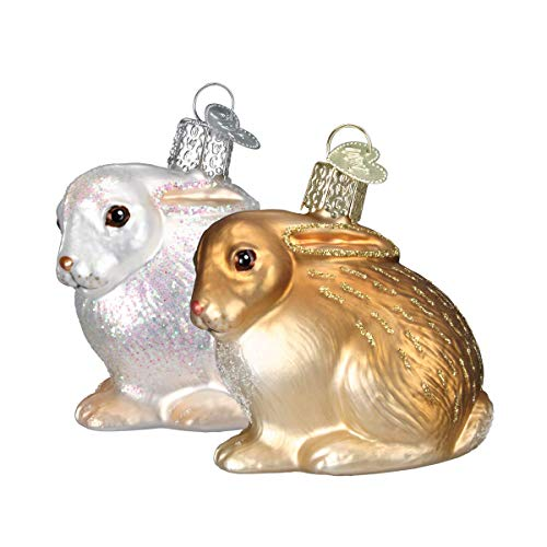 Old World Christmas Ornaments: Cottontail Bunny Glass Blown Ornaments for Christmas Tree (12192)