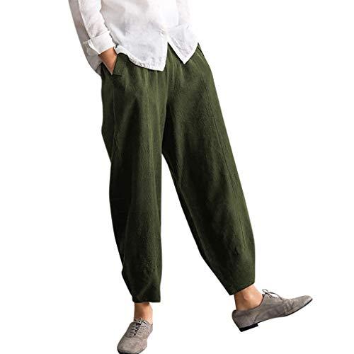 Auiyut Weite Hosen Elegant Freizeithosen Damen Sommerhosen Größe Freizeithose Hosenrock Haremshose Yogahose Hose Weitem Bein Mode lässig Herbsthose Yoga Hosen Sport Hosen (EU-42/CN-2XL, T-Armeegrün)