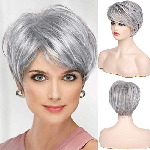 Beweig Women Grey Layered Wigs with Bangs Short Natural Sliver Gray Synthetic Hair Heat Resistant Cosplay Full Wigs