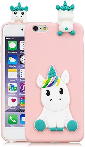 HopMore Compatibile con Cover iPhone 6S / 6 (4.7 inch) Silicone Disegni 3D Divertenti Fantasia Gomma Morbido Custodia iPhone 6 6S Antiurto Protettiva Slim TPU Case Bumper Molle Caso - Unicorno Rosa
