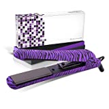 Royale 100% Ceramic Tourmaline Ionic Flat Iron Hair Straightener   2 in 1 hair straightener and curler   Single Pass Floating Plates   Ion Tech Anti-Static & Anti-Frizz -1.25' Purple Zebra Soft Touch