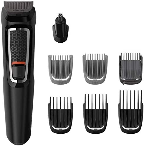 Philips Multigroom Series 3000 8-in-1 Face and Hair Cordless Trimmer with 8 Tools, Rinseable Attachments & up to 60 m...