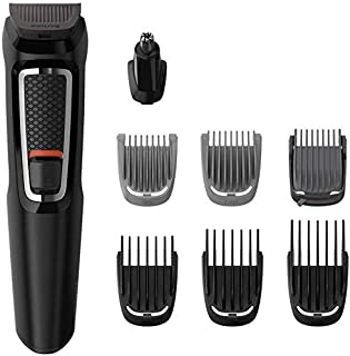 Philips Multigroom Series 3000 8-in-1 Face and Hair Cordless Trimmer with 8 Tools, Rinseable Attachments & up to 60 min Ru...