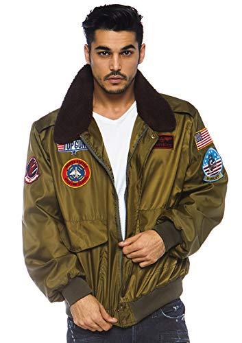 Leg Avenue Men's Top Gun Costume Bomber Jacket, Khaki, Large