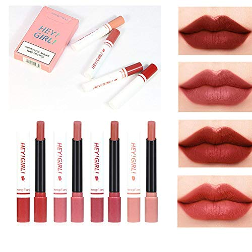 4 couleurs rouge à lèvres ensemble velours mat rouge à lèvres antiadhésif tasse longue durée imperméable à l'eau brouillard surface sexy nu rouge lèvr