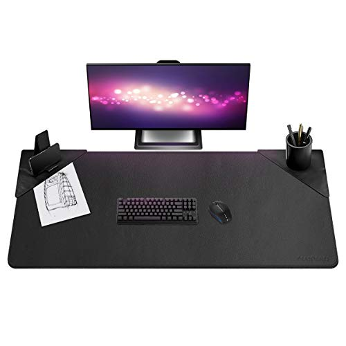 Leather Desk Pad - 51.2 x 23.6 Inch Desk Mat Accessories for Women Men Desk Protector Extended Mouse Pad for Office/Home with Pen Holder and Cell Phone Stand (Black)