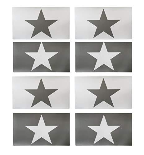 Juego de 8 manteles individuales de diseño vintage de estrella – Manteles de mesa / manteles individuales / posavasos de mesa / manteles individuales de plástico lavable 43 x 29 cm - Star (gris claro)