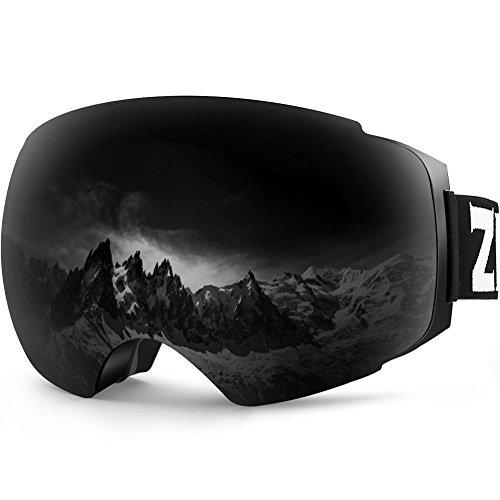 ZIONOR Lagopus X4 Skibrille Verspiegelt Snowboard Brille Magnet Zweilagiges Objektiv Kugelförmiges Design Anti-Fog UV-Schutz Anti-Rutsch-Gurt Schneebrille für Herren Damen