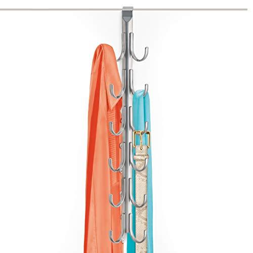 Lynk Over Door 12 Hook Rack Shirt, Belt, Hat, Coat, Towel Organizer, Platinum