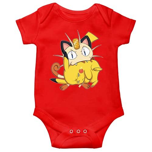 Okiwoki Body bébé manches courtes Rouge parodie Pokémon - Pikachu et Miaouss - Le jeu du Chat et la Souris :(Body bébé de qualité supérieure de taille 18 mois - imprimé en France)